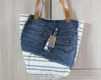 Recycled tote bag, denim and canvas striped, textile bag