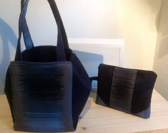 bag and matching pouch Jacquard ombre blue/black and Black Suede