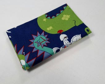 COUPON FABRIC PATCHWORK KNIGHT MEETS DRAGON KNIGHTS AND DRAGONS 50X55CM GREEN AND BLUE