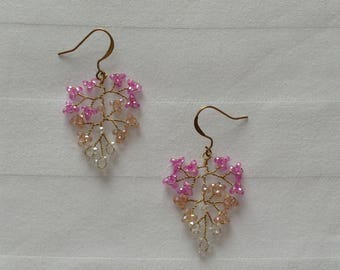 "Shades of pink Swarovski Crystal, earrings ""autumn leaves"""