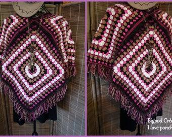 Crocheted adult wool poncho