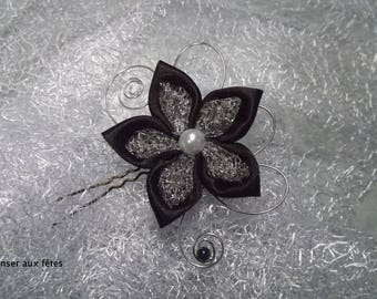 Silver mesh and black hair stick