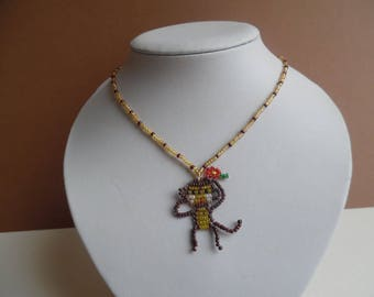 Necklace pendant girl monkey