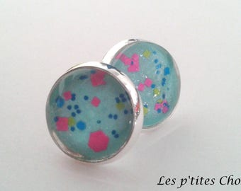 "Earrings ""glittering caicos"" chip - multicolor glitter blue"