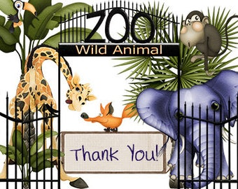 Zoo Theme Baby Shower Thank You Cards – Thank You Cards – Baby Thank You – Shower Thank you – Digital Thank You Card