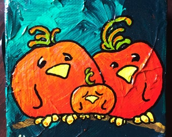 The Li'l PUMPKIN ~ Whimsical Bird Art w Personality ~ Autumn Decor ~ Joyful Art ~ Cheerful Gift ~ Unique Custom Birds ~ LimbBirds