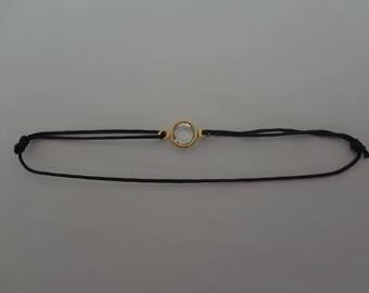 Bracelet black jade wire and Swarovski clear Crystal bead