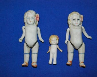 Three Antique Vintage Bisque Girl Dolls Jointed
