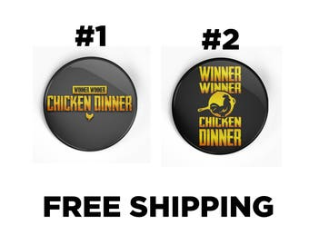 PUBG Inspired Winner Winner Chicken Dinner PinBack Button Badge Pin - Playerunkown's Battlegrounds