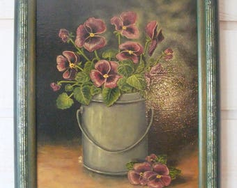 Bouquet of pansies Zinc Pot painting