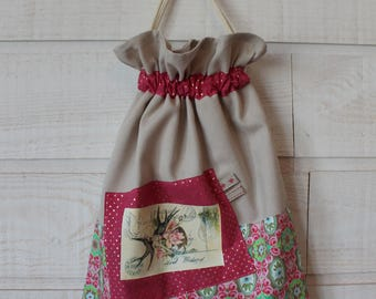 Lingerie bag / pouch (number 156) old rose/post card