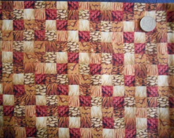 Fabric spices: spices and wheat checkered (coupon 55 x 30 cm) 100% Cotton Patch