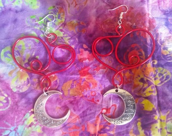 Red Heart Earrings w/Charms