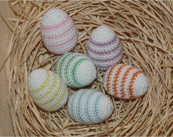 Easter eggs in a set of 6 small crocheted