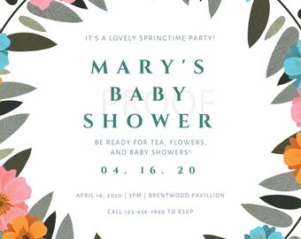Baby Shower or Bridal Shower Invitation (CUSTOMIZABLE) DIGITAL DOWNLOAD