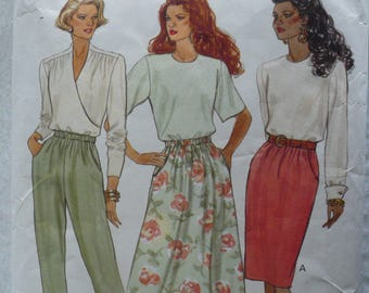 Women's or Misses' Petite Skirt, Pants Pattern, Vintage Butterick 5857, Size 12-16