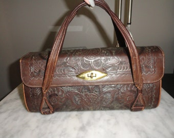 Vintage Leather Hand Tooled Handbag Purse Flores Mexico Floral Design Chocolate Brown