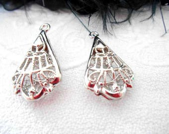 x 2 29 mm silver filigree Teardrop pendants.