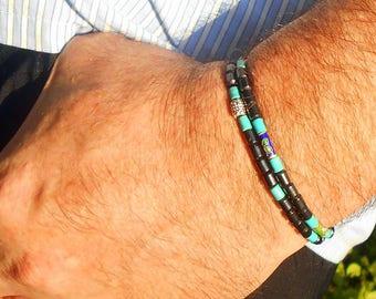 BRACELETS Couple Homme pierre Turquoise, hematite, perles cloisonnées,Bracelets surfeur perles argent, cristaux Guérison.cadeau Homme