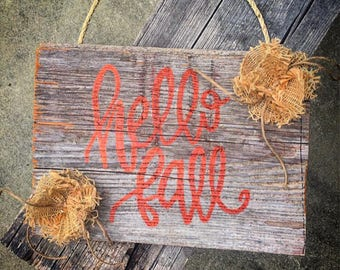 Hello Fall reclaimed wood sign