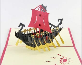 Handmade pirate boat 3D popup pop up papercraft Viking dragon greeting Valentines card birthday card adventure vintage classical sea explore