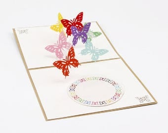 Handmade 3D pop up card butterfly birthday Valentines mother's day wedding anniversary baby birth christening engagement party invitation