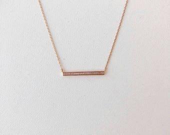 Rose Gold Crystal Bar Dainty Necklace