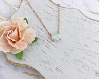 Tiny Opal Dainty Necklace in Rose Gold Chain