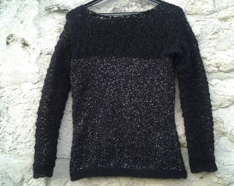 evening sweater Christmas mohair black sparkly women T 42