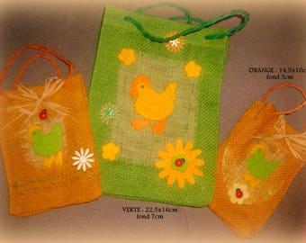 promotion * set of 3 mini-sacs burlap Easter