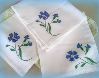 Set of 3 big handkerchiefs with hand painted