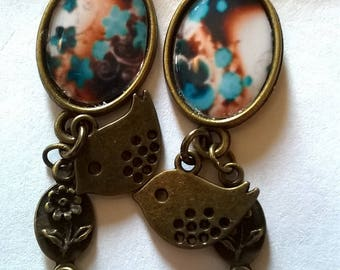 bronze earrings stunning cabochon, a marriage of turquoise and Brown gradient