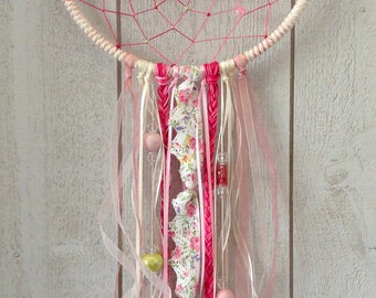 Dream catcher Bohemian pink and green