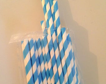 Set of 25 straws in white and blue cardstock