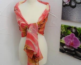salmon chiffon leopard print scarf or shawl