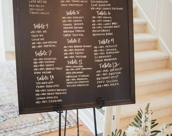 Seating Chart Chalkboard