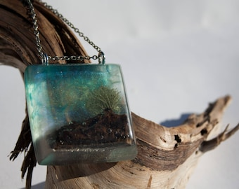 Lichen Tree and Night Sky Resin Pendant, Aurora Borealis,  Northern Lights