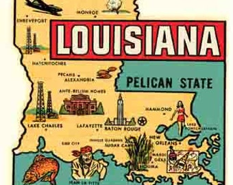 Vintage Style Louisiana State Map  Baton Rouge  Travel Decal sticker