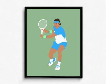 Rafa Minimalist Sports Poster- Rafael Nadal, Wall Art Decor, Tennis Poster