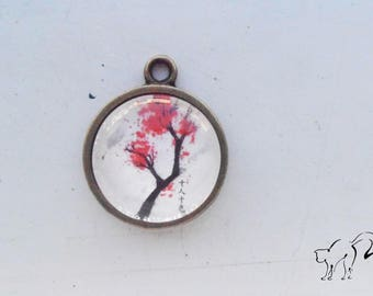 Vintage red cherry blossom tree motif cabochon pendant