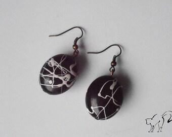 DESTASH earrings bronze big Pearl black and white splash