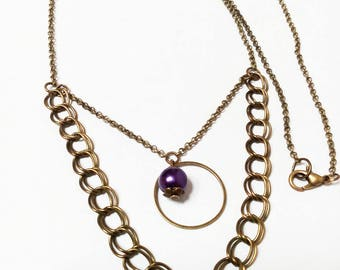 Necklace bronze, chain links and fine chain, Pearl blue violet