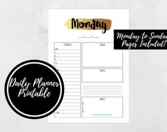 Daily Planner, Printable Daily Planner Insert, A4 , Full Sheet, PDF Download, Daily Planner