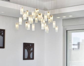 """Decorative exclusive glass chandelier """"Gleams"""" 33 90*30 cm, white-clear for dining room or living room lighting creates home cozy atmosphere"""