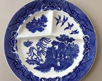 Vintage Japanese Blue Willow Divided Plate