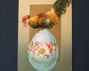 Antique Easter Postcard  'Easter Greeting' Chicken Standing On Egg.