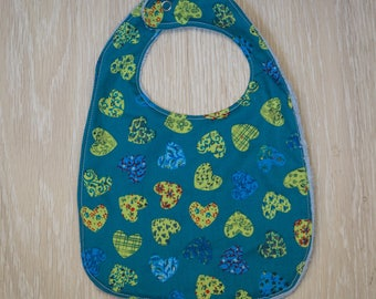 "Blue towel ""Hearts"" baby bib"