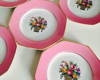Whieldon Ware China, Side Plates, Vintage, Pretty, Delicate