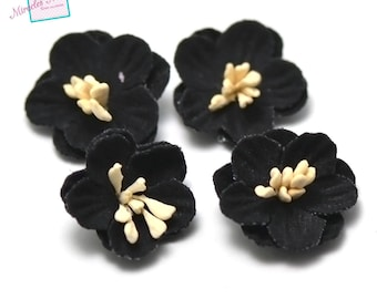 4 flowers in faux leather (suede) 21 x 7 mm, black