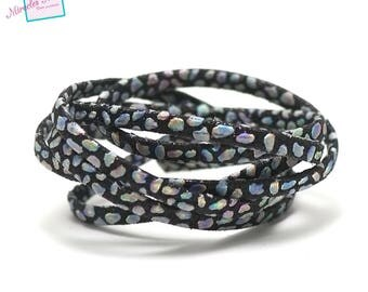 """1 m strap leather 5 x 2 mm, doubled """"Opal"""", black"""